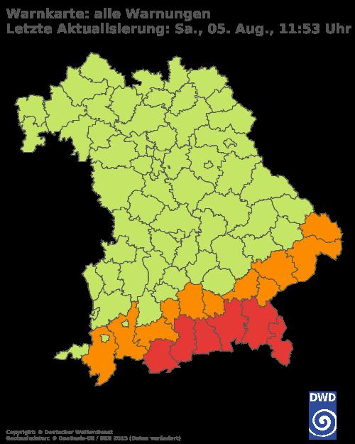 Aktuelle Wetterwarnungen für Aichach-Friedberg